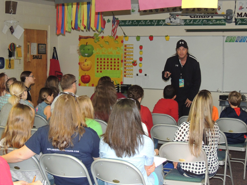 "Bradlee Dean preaching to a classroom full of students at TNG. This was one of many classrooms that Bradlee spoke in throughout ""Liberty Week"""